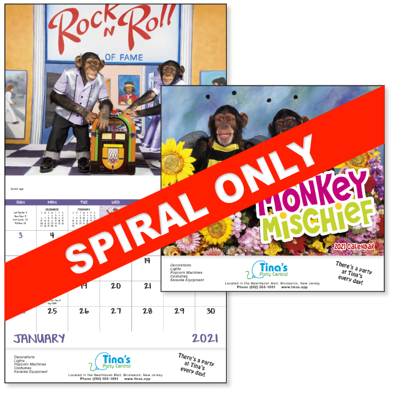 Custom Imprinted Calendar - Monkey Mischief #7233