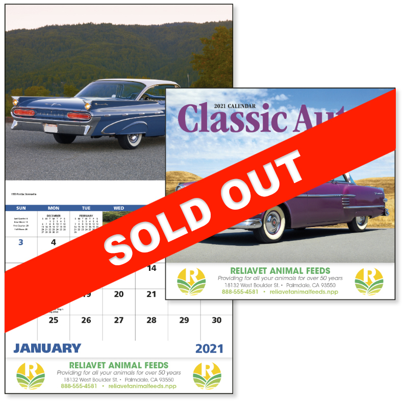 Custom Imprinted Calendar - Classic Autos #7242